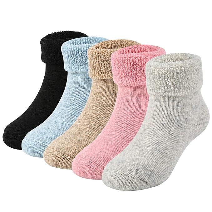 VBIGER 5 pares Niñas Calcetines de Invierno Caliente Calcetines de lana Cómodos 3-5 Años: Amazon.es: Ropa y accesorios
