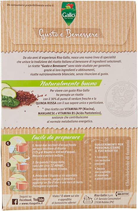 Riso Gallo Risotto Gusto E Benessere Zucchine Spinaci E Quinoa Rossa Busta Da 175 Gr Amazon It Alimentari E Cura Della Casa