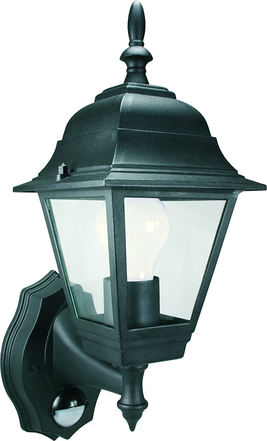 Smartwares Es94 4 Panel Wall Lantern With Pir Motion Detector 100 W Wiring Diagram For Outdoor L Post Light Black Garden Outdoors