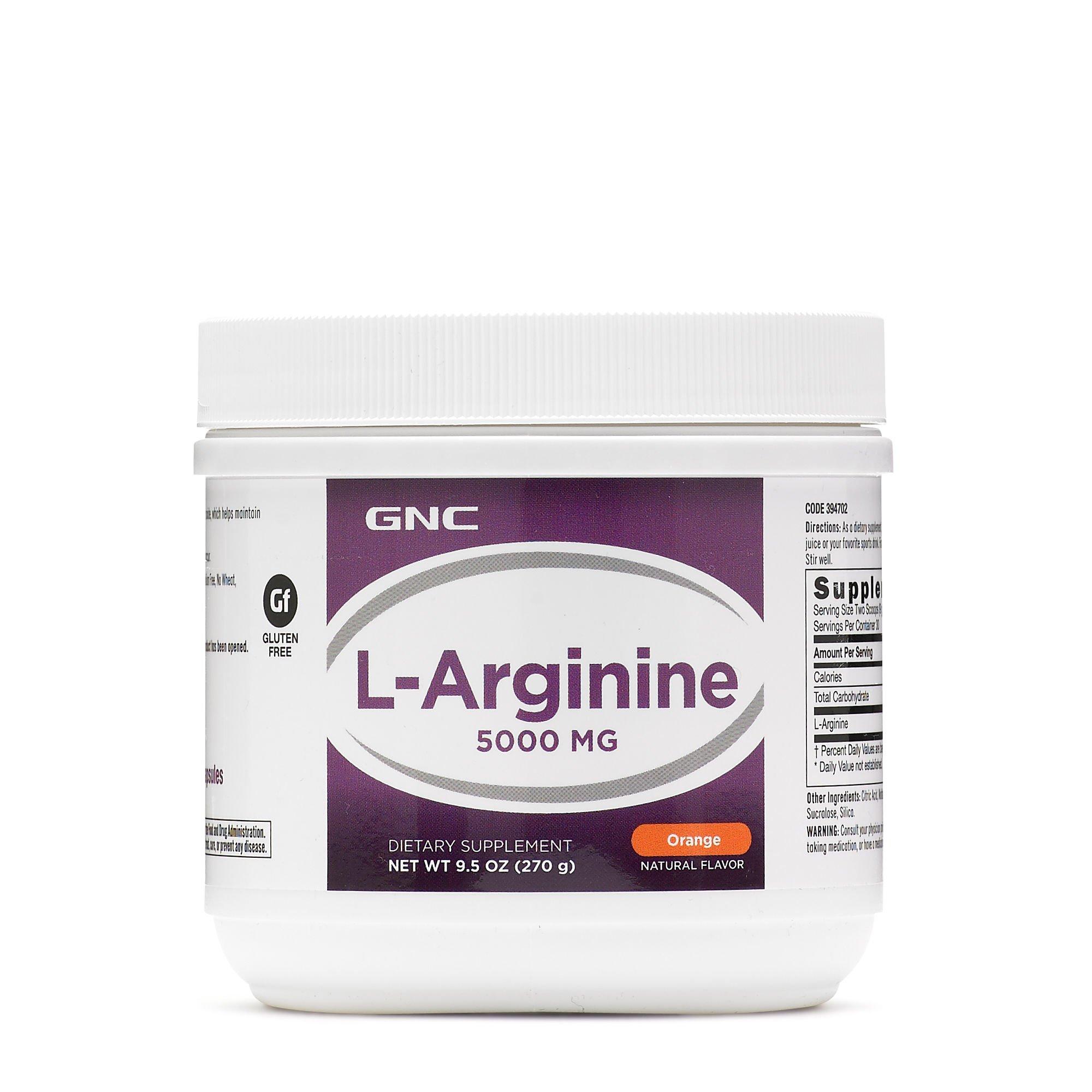 GNC L-Arginine 5000 Milligram Amino Acid for Nitric Oxide Production - Orange