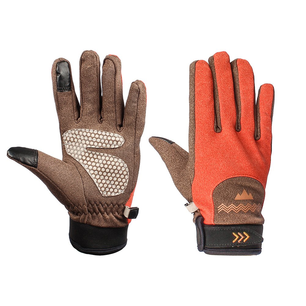 OUTRY Touchscreen Winter Gloves, Polyester Knit Mittens, Full Finger Lightweight Gloves for Men and Women - Orange - M - Women Size