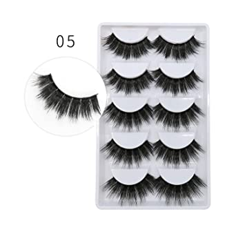 7eabaa64aa1 Amazon.com : New 3D 100% 5 Pairs mink eyelashes makeup natural thick real  false 3 pairs lashes fur strip fake eye lashes extension, 05(5 pairs) :  Beauty