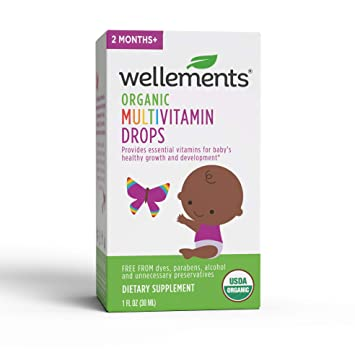 Wellements Organic Multivitamin Drops, 1 Fl Oz, Baby Liquid Vitamin Supplement For Infants And Toddlers, Free From Dyes, Parabens, Alcohol, Preservatives by Wellements