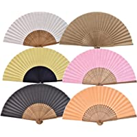 Salutto 6Pcs Folding Paper Hand Fan Bamboo Handheld Dancing Wedding Gift Party Home Office DIY Decor