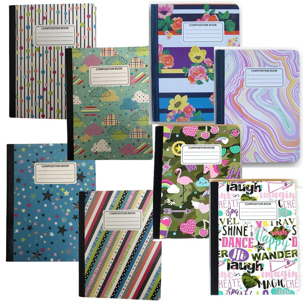 Mega Pack of 8 Trendy Patterned Wide Ruled Chic Composition Notebooks, 100 Sheets (200 Pages) Each