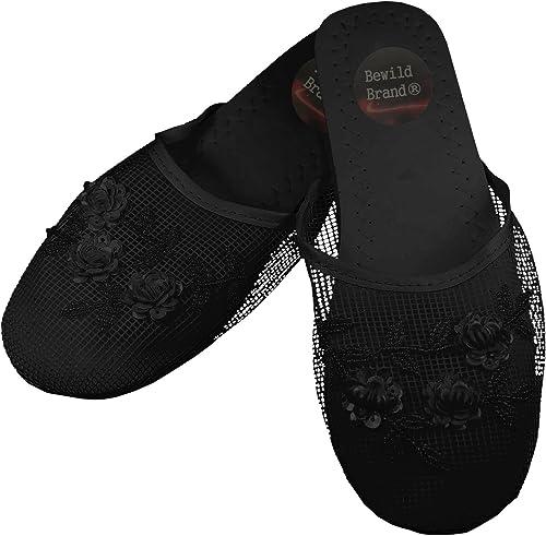 Black Mesh Chinese Slippers Womens 10