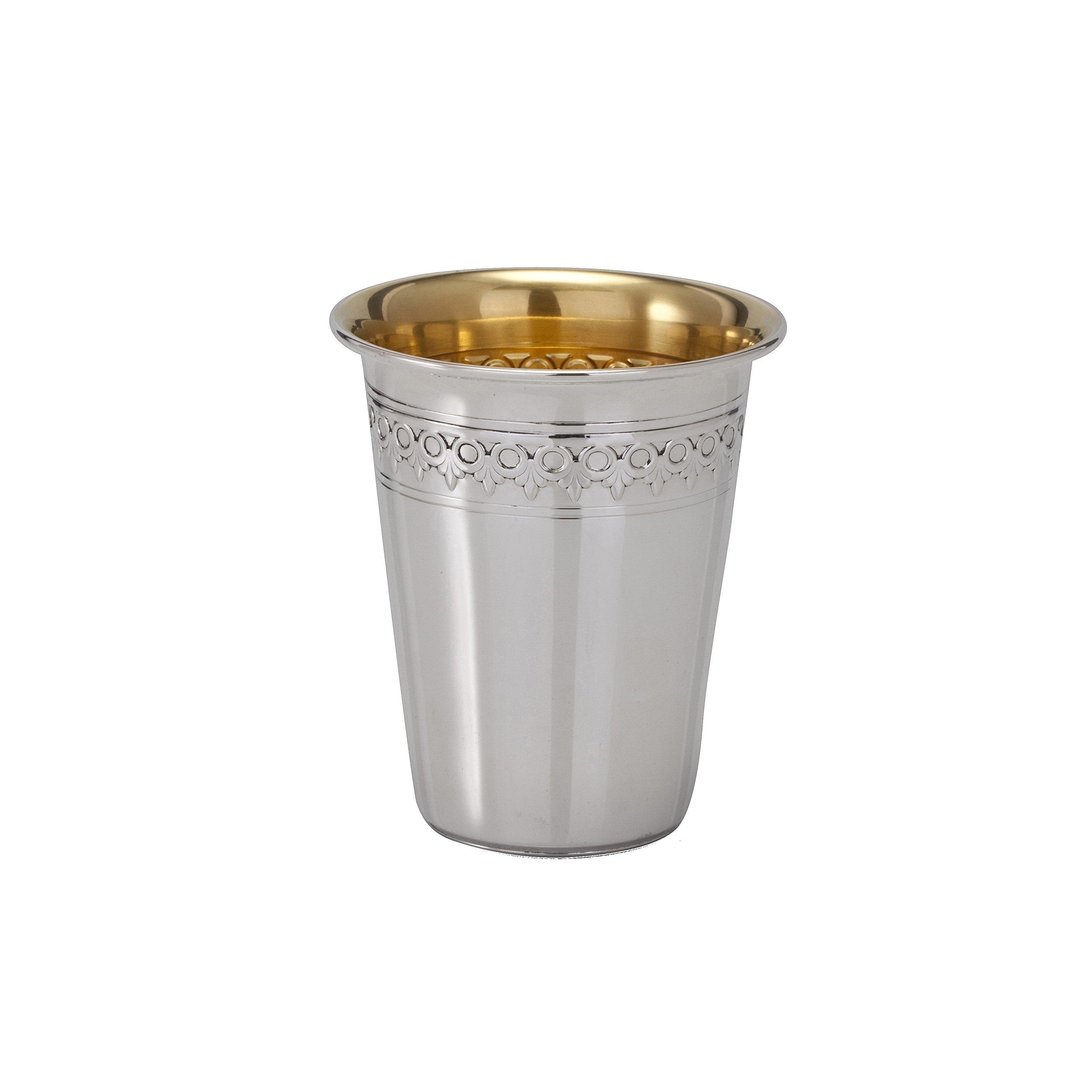 Hazorfim Filigree Chazon Ish Kiddush Cup Sterling silver 925 kiddush cup saucer plate wine shabbat Shabbos bar mitzva wedding gift handmade Israel Judaica hatzorfim
