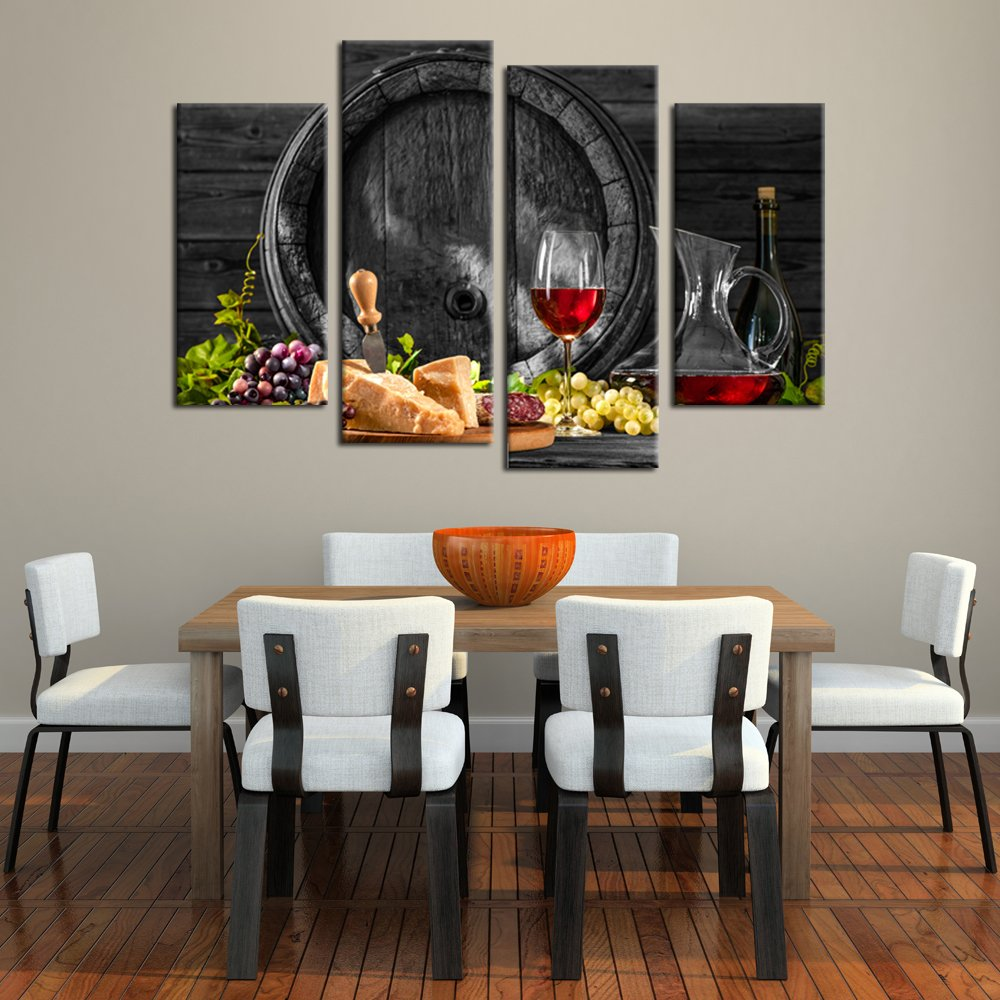 Kreative Arts – 4 Pieces Red Wine and Fruits with Glass and Wood Barrel Canvas Prints Wall Art Painting Food Pictures Art Work for Kitchen Walls Home Modern Decoration Ready to Hang L47xH32