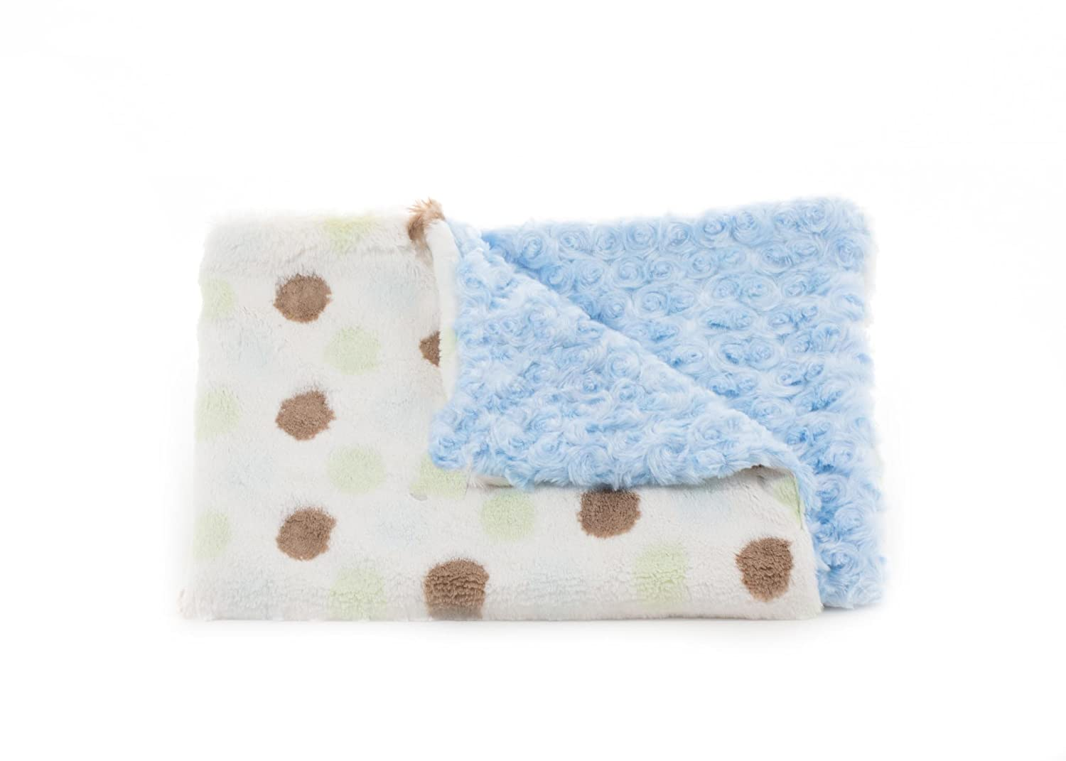 30 x 45 30 x 45 ababy 009243460633 Tourance Spumoni Dots Toddler Blanket with Rosebud Sky Blue