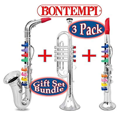 "BONTEMPI 16.5"" Wind Instruments Gift Set Bundle - 3 Pack Includes Saxophone, Trumpet & Clarinet: Toys & Games"