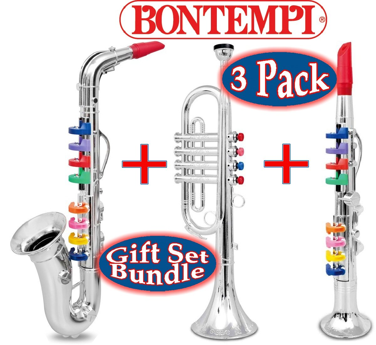 BONTEMPI 16.5'' Wind Instruments Gift Set Bundle - 3 Pack Includes Saxophone, Trumpet & Clarinet
