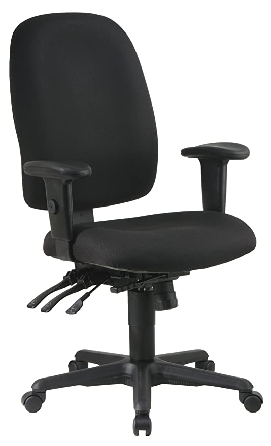 promo code 03128 3ff48 Office Star Multi Function Ergonomic Chair with Ratchet Back Height  Adjustment and Adjustable Soft Padded Arms, Black