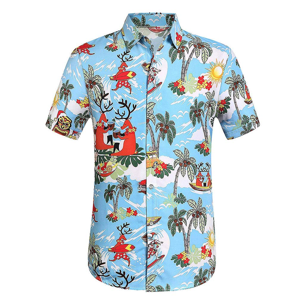 YOMXL Men's Hawaiian Top Summer Tropical Printed Button Down Shirt Casual Standard-Fit T-Shirt Short Sleeve Blue by YOMXL