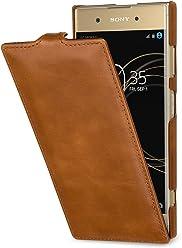 StilGut UltraSlim, housse Sony Xperia XA1 Plus en cuir. Etui de protection pour Sony Xperia XA1 Plus à ouverture verticale et fermeture clipsée en cuir véritable, Cognac