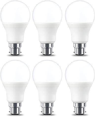 AmazonBasics Bombilla LED B22, 9W (equivalente a 60W), Blanco Cálido, no