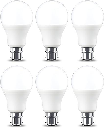 AmazonBasics Bombilla LED B22, 8.5W (equivalente a 60W), Blanco Cálido,