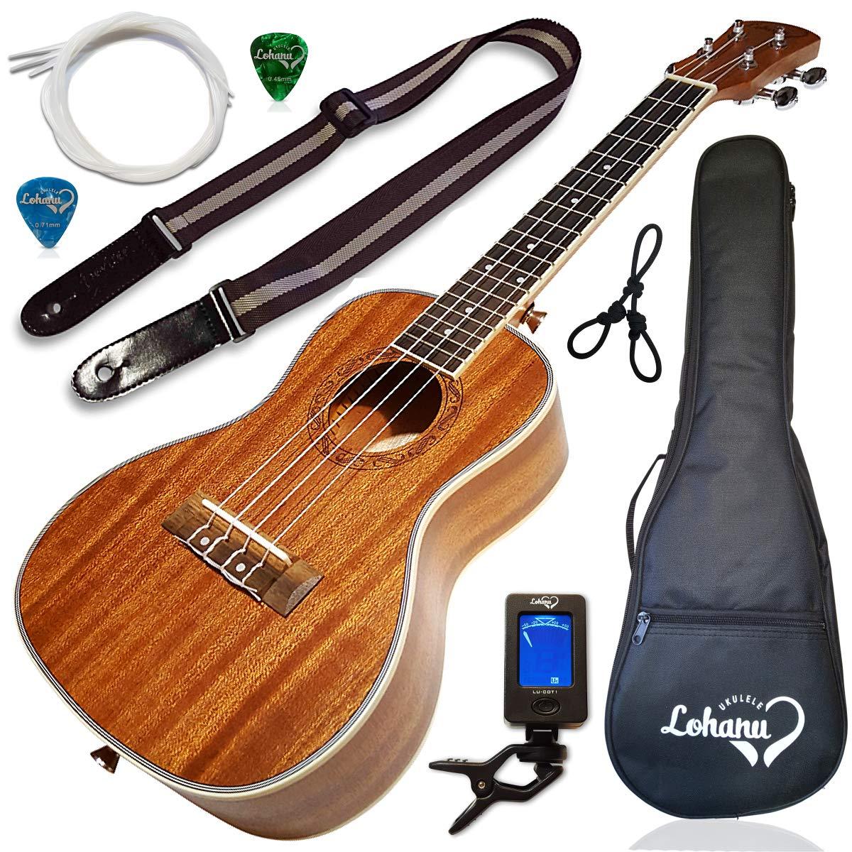 ukulele concert size bundle from lohanu (lu-c) 2 strap pins installed free  uke strap case tuner 2 picks hanger aquila strings installed free video  lessons