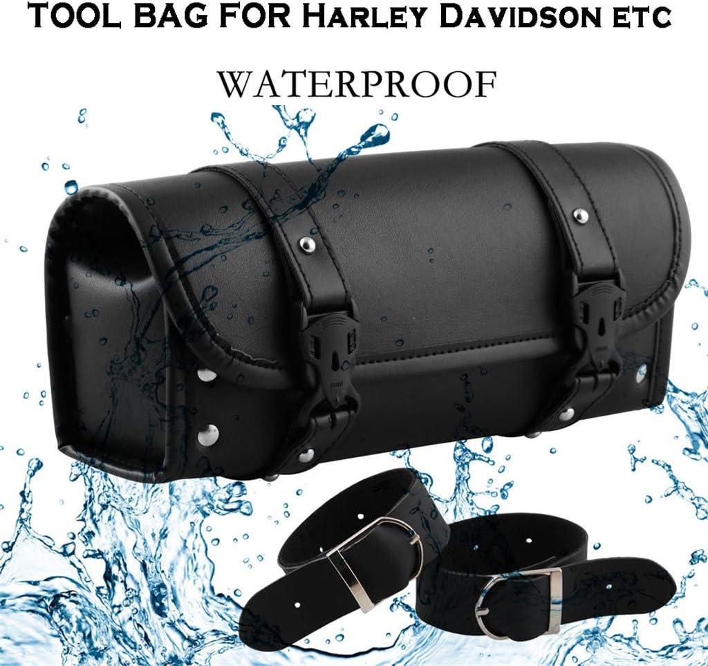 Lomsarsh/Motorcycle Handlebar Bag Saddlebag Fork Roll Barrel Bag for Touring Leather Bag