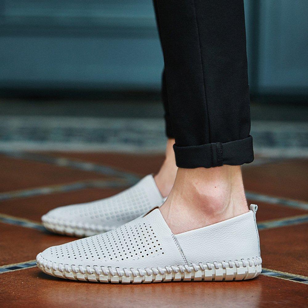 AHELMET Männer Casual Komfortable Atmungsaktive Faule Schuhe Segelschuhe Sandalen Sandalen Sandalen Fahren Schuhe Vier Jahreszeiten Lofo Schuhe (Farbe   Weiß1, größe   39EU) 1a8994