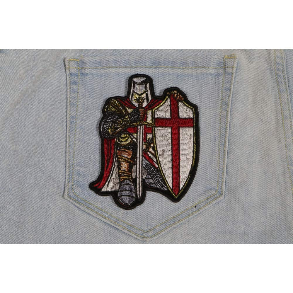 e2c4bfdabaa Amazon.com  Crusader Knight Patch Small - 3.3x4.5 inch. Embroidered Iron on  Patch  Arts
