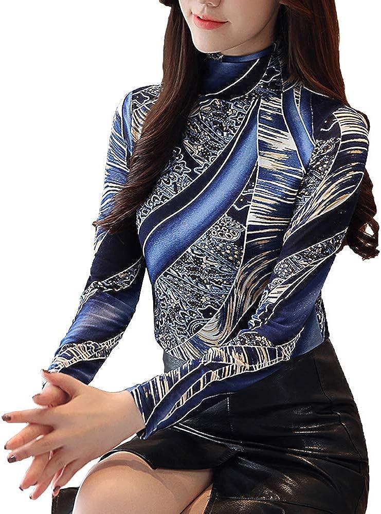 SansoiSan Womens Fashion Long Sleeve Slim Vintage Turtleneck Print T-Shirts Blouse Tops Plus Size
