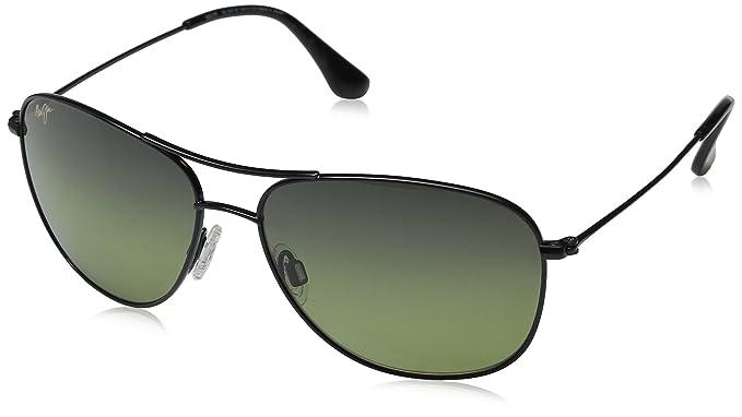b7b9dbe46ea Maui Jim HTS247-02 Gloss Black Cliff House Aviator Sunglasses Polarised  Driving  Amazon.co.uk  Clothing
