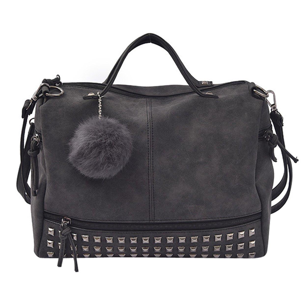 FUNOC Women's Nubuck Top Handle Bag - Satchel Punk Motorcycle Rivet Shoulder Bag (Black)