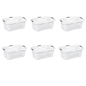 Sterilite 12098006 1.5 Bushel/ 53 Liter Ultra Square Laundry Basket, White Basket w/ Titanium Inserts, 6-Pack