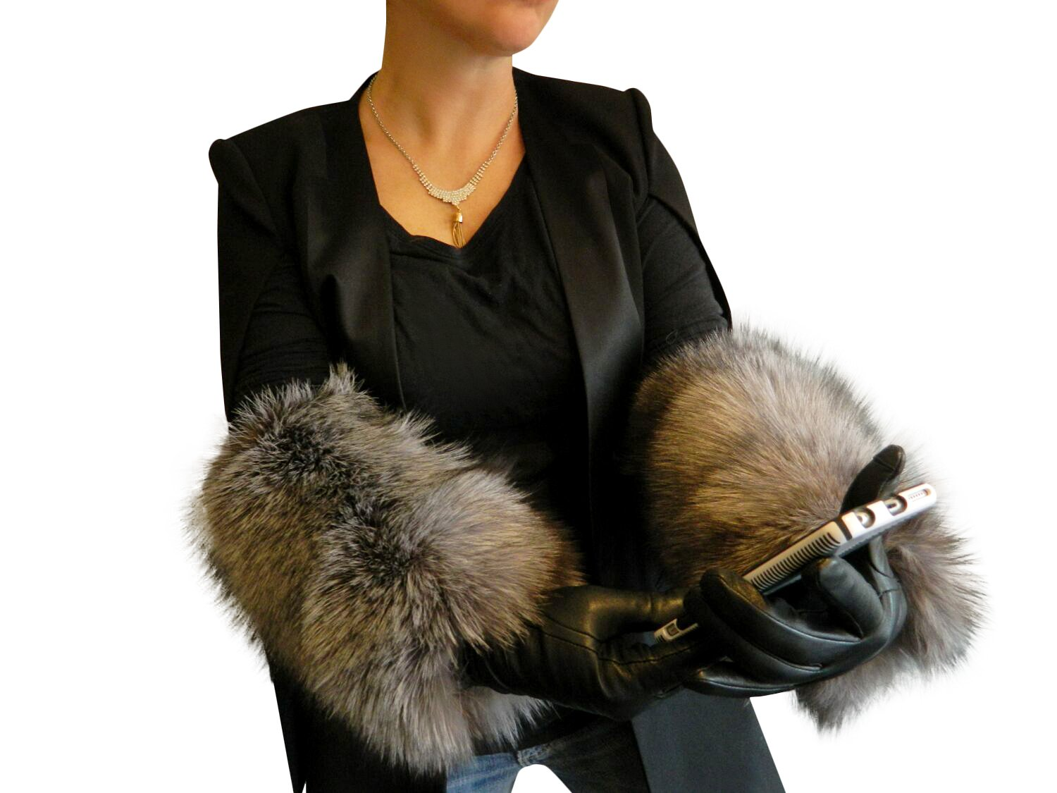 Black Cashmere Lined Leather Gloves Extended to Opera Length by Indigo Fox Cuffs 7.5 by FursNewYork (Image #1)