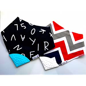 Baby Bandana Drool Bibs with Silicone Teether, 100% Organic Cotton front bibs- by Aarvih. 2 pack - Alphabet / Chevron