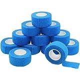 Juego de 12 rollos de cinta autoadhesiva de 2,5 x 1,5 m, cinta deportiva fuerte para dedos y esguinces, rollos de vendaje autoadhesivos, color azul
