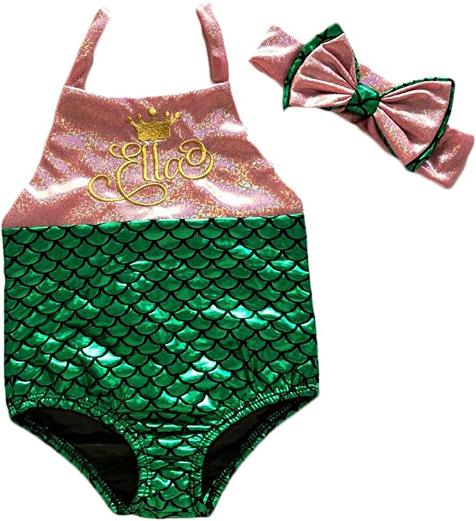 2 Style Baby Girl Mermaid Sequins Swimsuit Bow Romper Headband Bikini Swimming Suit