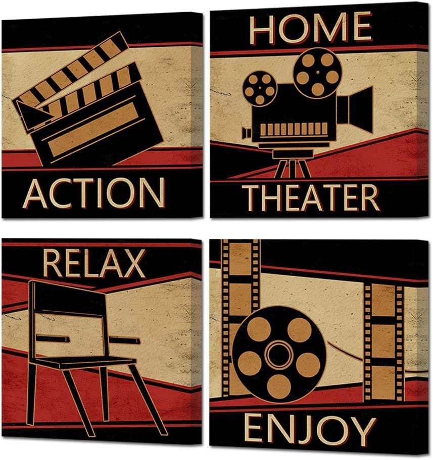 HOMEOART Home Theater Cinema Canvas Wall Art Prints Classic Vintage Movie Film Painting Family Entertainment Media Room Decor Stretched Framed Artwork 12