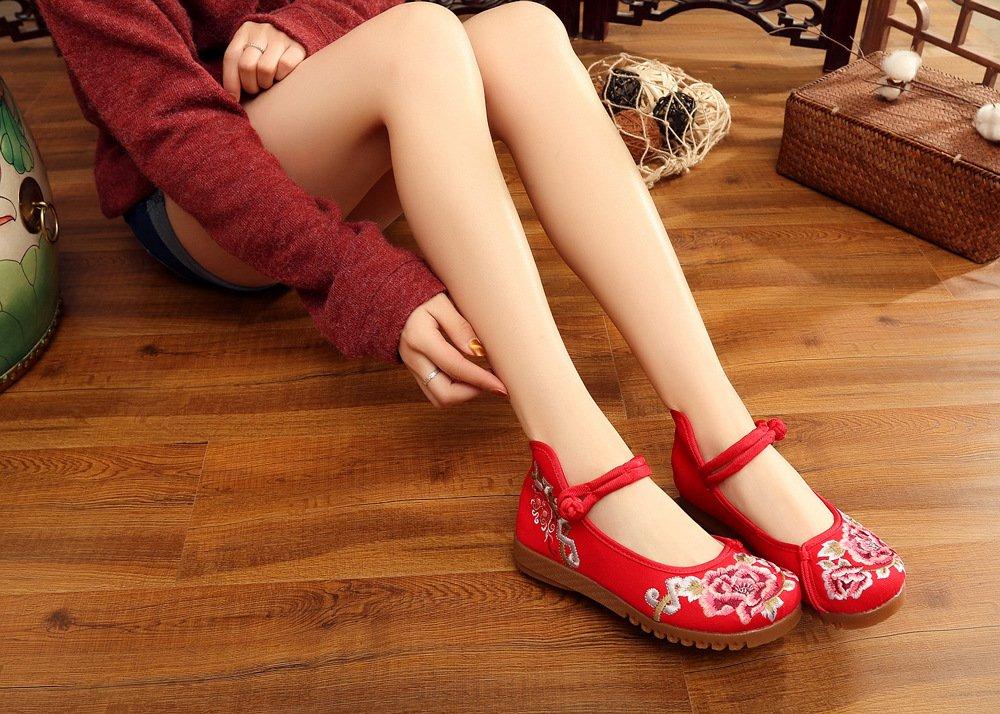 Wunes(TM) 春夏の中国の旧唐刺繍フラット女性の靴古い北京スタイルのコットンラバー浅口通気性カジュアルシューズ[9赤] B078L1RM2Y 赤 9