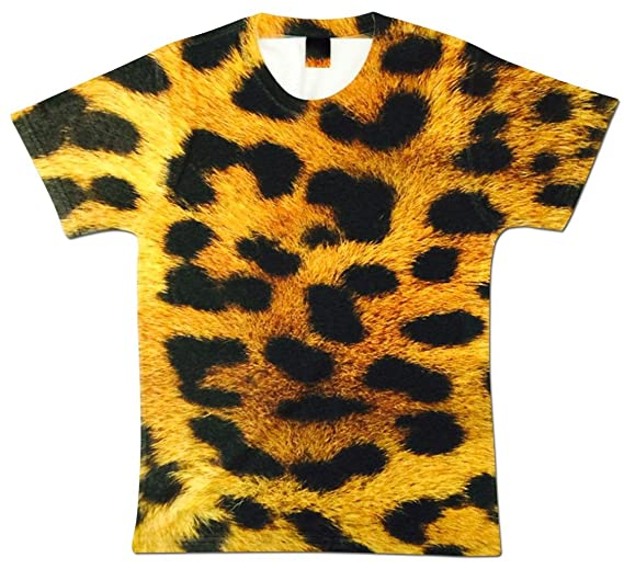 a6e71fed24 Amazon.com  Men s Animal Fashion Leopard Print Fur Crewneck Sublimation  Graphic Tee Top  Clothing