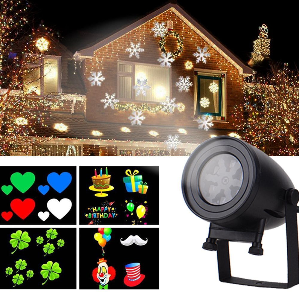 LED Holiday Projection lamp (7W), Snowflake lamp with 12 Slide Landscape Lights Slide Dynamic Lighting Waterproof lamp Indoor and Outdoor Decorative Lights Children's Room Decoration lights-2PK