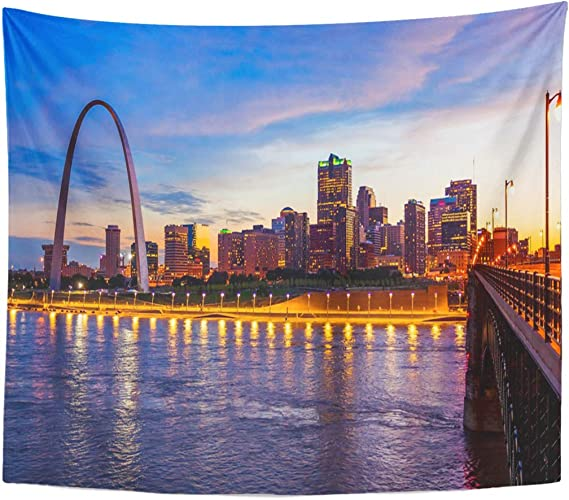 Semtomn Tapestry St Louis Missouri Cityscape Skyline And Gateway Arch As Home Decor Wall Hanging For Living Room Bedroom Dorm 60x80 Inches Home Kitchen