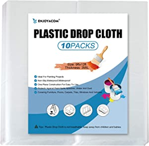 10-Pack Plastic Drop Cloth,3 Mil Plastic Cover,9x12Feet Durable Painters Plastic Tarp for Painting,Waterproof and Dustproof Transparent Plastic Covers for Protection Furniture Sofa Car (10PACK)