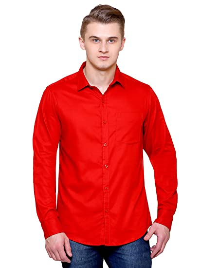 fc9911c76f JScottwitchy Men s Pure Cotton Casual Semi Formal Slim Fit Bright Red Shirt  ...