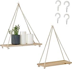 BASE ROOTS Hanging Shelves [Set of 2 w/Hooks] Wood Wall Shelves Rustic Home Decor Triangle Floating Shelf Modern Farmhouse Plant Hanger | Rope Swing (Pine Wood)