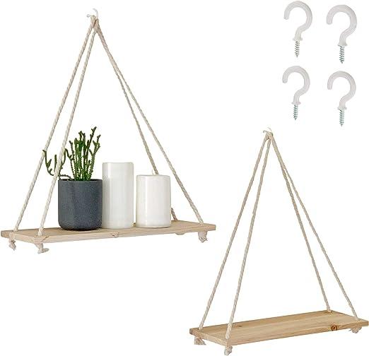 Rustic Wall Decor or Plant Shelf Zenscape MultiZen Floating Shelves Wooden Rope Swing Triangle Shelf Set of 1 17 Distressed Wood Wall Shelf for Bedroom Hanging Shelf for Boho Decor