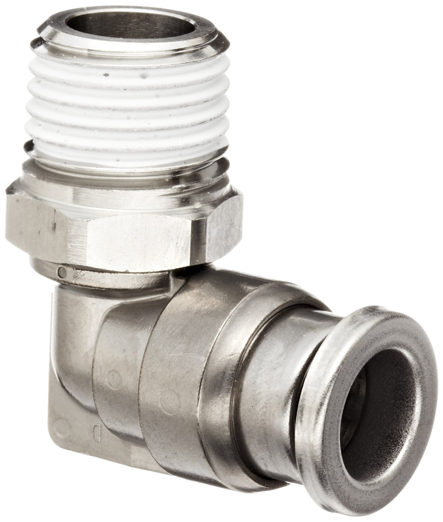 SMC KQG2 Series Stainless Steel 316 Push-to-Connect Tube Fitting, 90 Degree Elbow with Sealant, 8mm Tube OD x 1/4'' BSPT Male