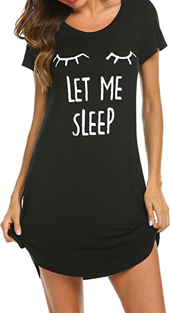 Womens Sleepshirt Sleepwear Night Gown Night Shirt Ladies T-Shirt Sleep Shirt