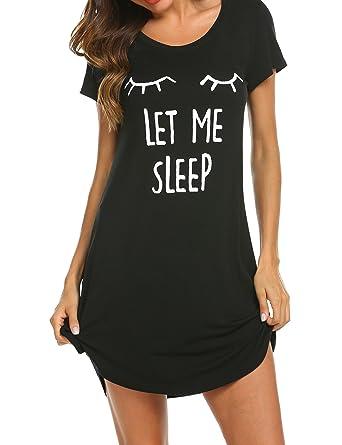 HOTOUCH Women s Sleep Shirt Printed Short Sleeve Night Shirt Pure Cotton  Nightshirts Sleepwear Nightgown Black S ba666e5d49