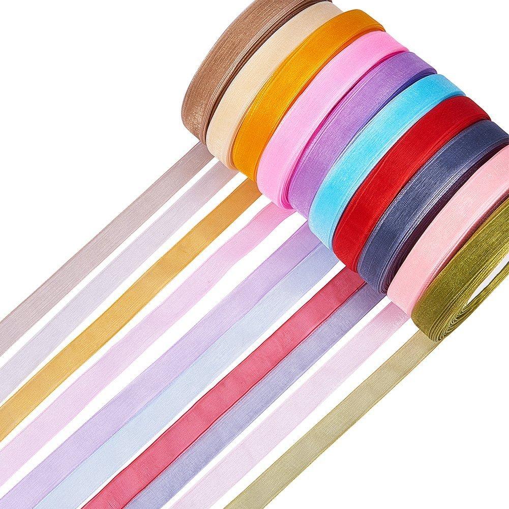 el color mixto DIY material de la cinta 500 Yardas 12 mm Cinta de organza pura