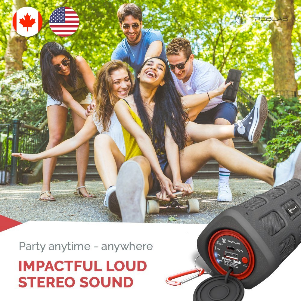 TREBLAB FX100 - Extreme Bluetooth Speaker - Loud, Rugged for Outdoors, Shockproof, Waterproof IPX4, Built-In 7000mAh Power Bank, HD Audio w/ Deep Bass, Portable Wireless Blue Tooth Microphone Mic by Treblab (Image #3)