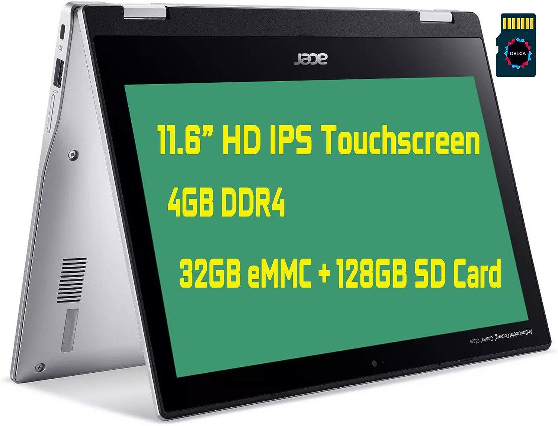 "2021 Acer Spin 311 Premium 2 in 1 Chromebook Laptop I 11.6"" HD IPS Touchscreen I MediaTek MT8183 Processor I 4GB DDR4 32GB eMMC + 128GB SD Card I USB-C WiFi Chrome OS + Delca 32GB MicroSD Card"