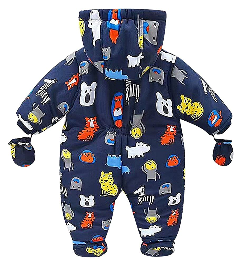 BPrince Babies Playful Print Double Zipper Hooded Snowsuit With Gloves /& Shoes