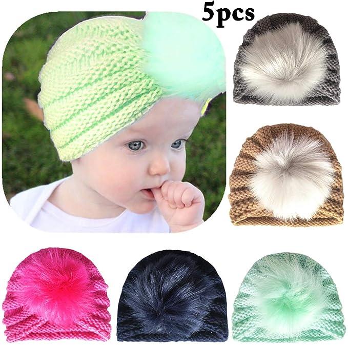 Zoylink 5PCS Cappello Invernale Per Bambini Cappello All Uncinetto Cappello  Creativo Pom Pom Infant Per ac2aa8b754f3