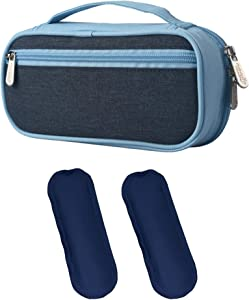Goldwheat Insulin Cooler Travel Case Diabetes Supply Organizer Medical Cold Bag with 2 Ice Packs Waterproof and Insulation Liner